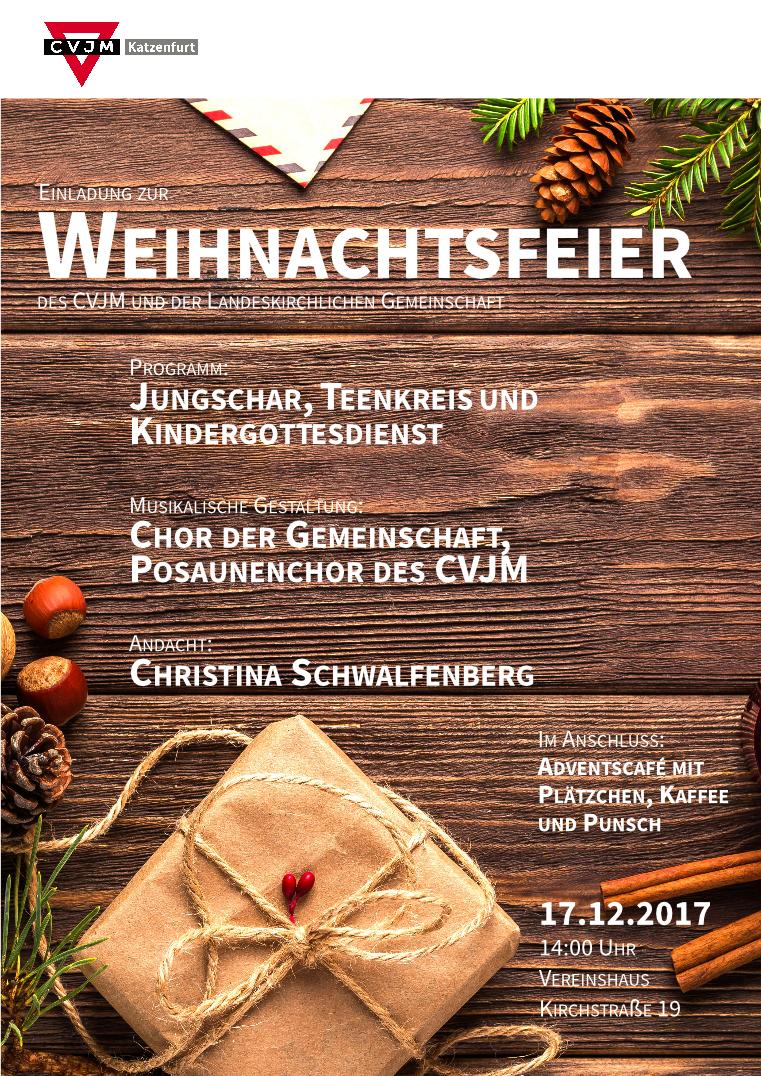 Einladung Zur Weihnachtsfeier.Einladung Zur Weihnachtsfeier Cvjm Katzenfurt